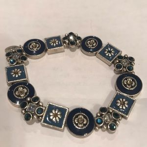 """Cookie Lee"" Navy Blue and Silver  bracelet."